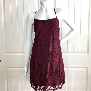 1. State Lace Maroons Mini Dress
